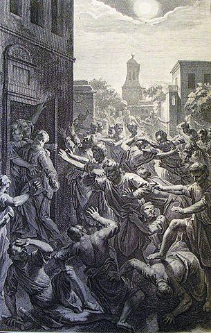 Hombres de Sodoma se agolpan frente a la puerta de Lot.