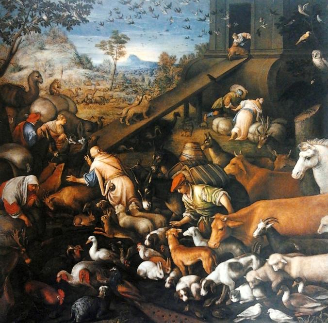 Los animales entrando al arca.
