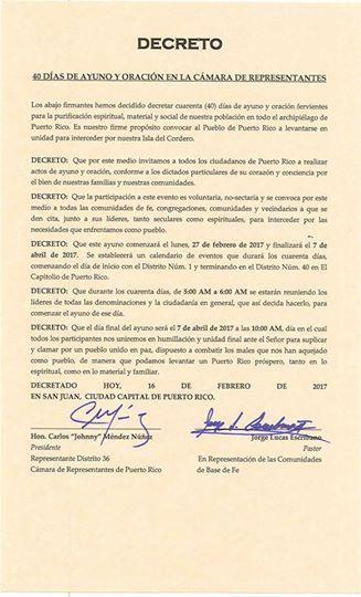 Decreto firmado de 40 días de ayuno en la Cámara de Representantes