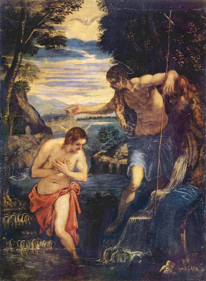 Juan bautizando a Jesús - Jacopo Tintoretto (s. XVI)