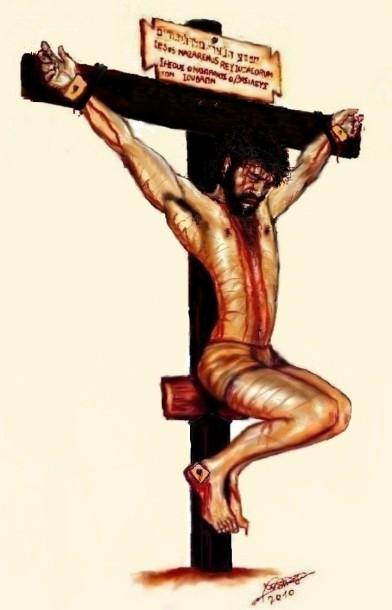 Jesús crucificado en una cruz immissa