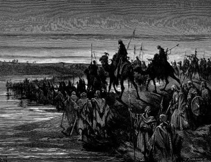 Los hijos de Israel cruzando el Río Jordán - Gustave Doré