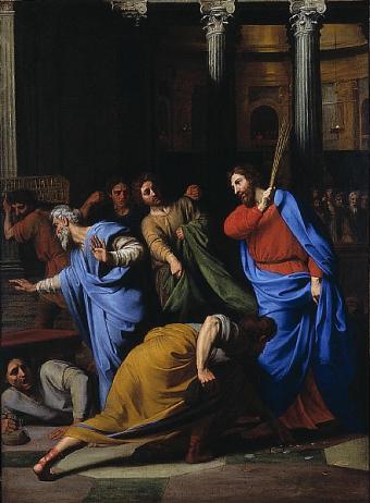 Cristo expulsa a los cambistas del Templo, por Nicolas Colombel (1681)