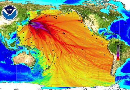 Mapa del maremoto del 11 de marzo de 2011.