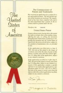 Documento de otorgación de patente por la USPTO