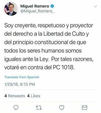 Declaración de Miguel Romero en Facebook
