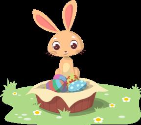 Conejito y huevos de Pascua