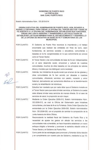 Primera página de la orden ejecutiva