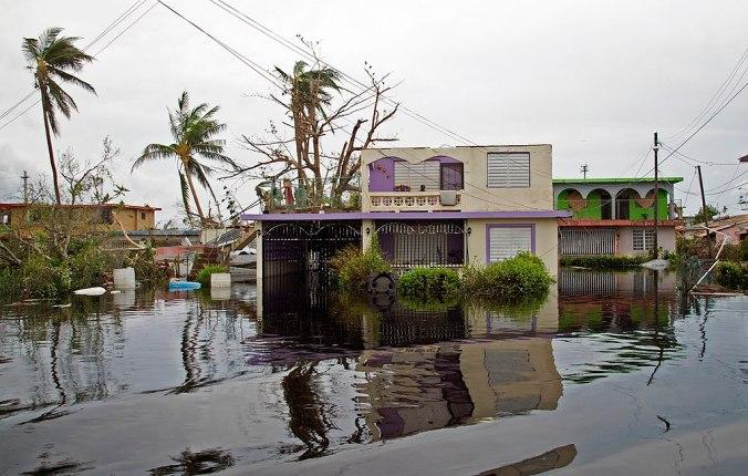 Casa inundada como resultado del paso de María.