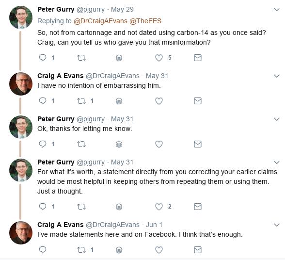 Intercambio entre Peter Gurry y Craig Evans en Twitter