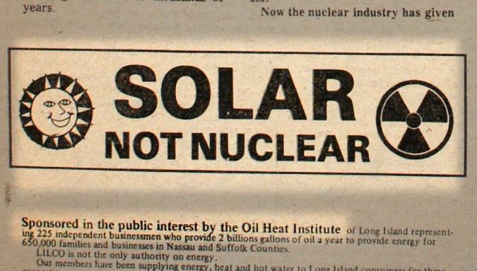 Anuncio a favor de la energía solar por la Oil Heat Institute