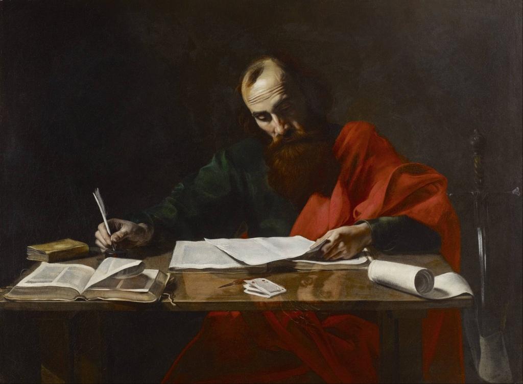 Pablo escribiendo una epístola - Valentin de Boulogne
