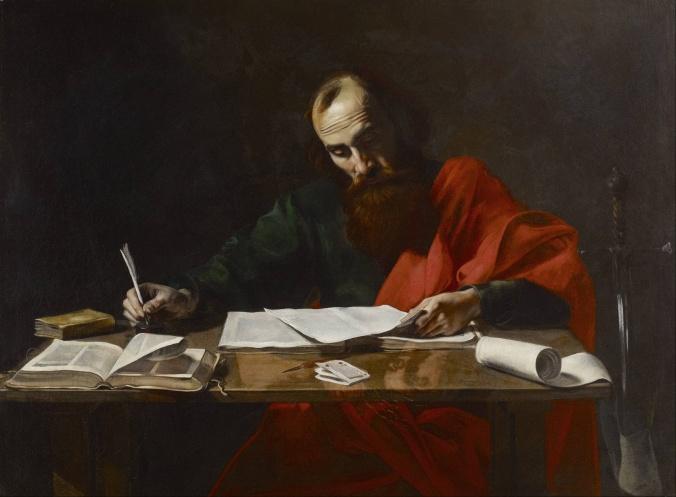 Pablo escribiendo sus epístolas - Valentin de Boulogne