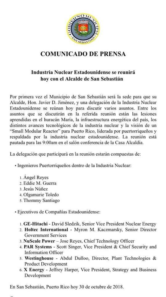 Comunicado de Prensa del Municipio de San Sebastián