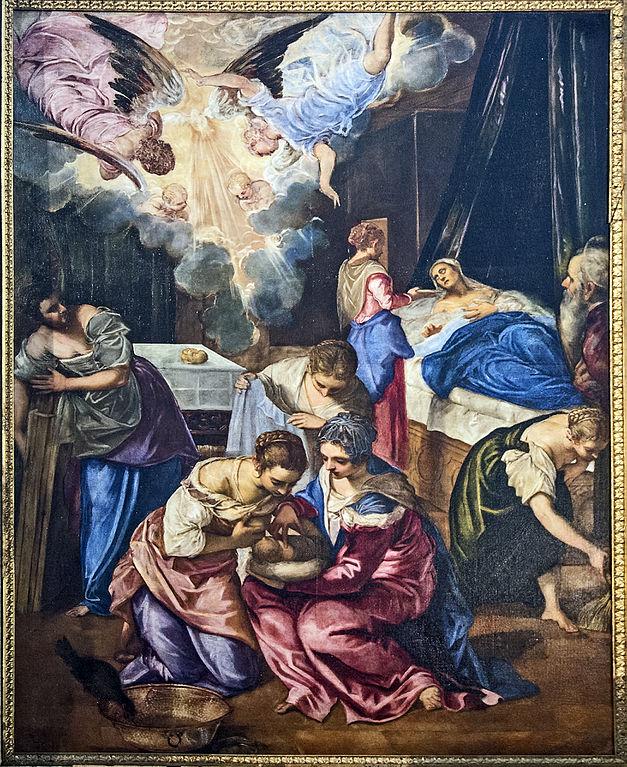 El nacimiento de Juan el Bautista, por Tintoretto