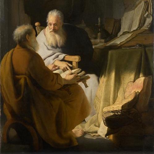 Dos ancianos disputando, por Rembrandt (1628)