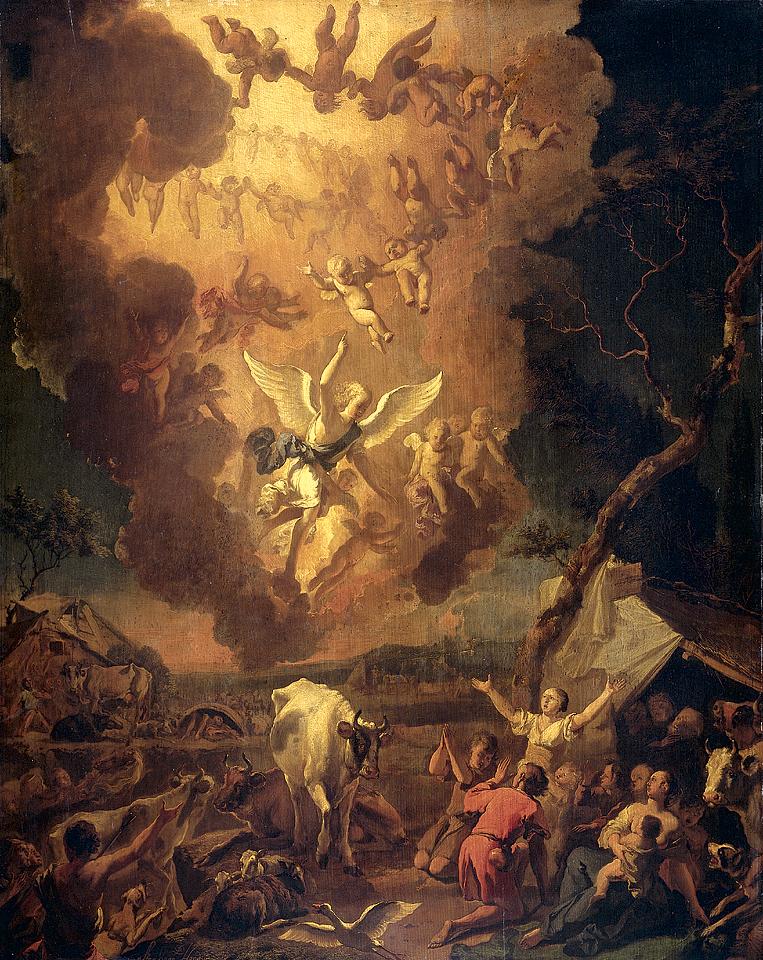 La anunciación a los pastores, por Abraham Hondlus
