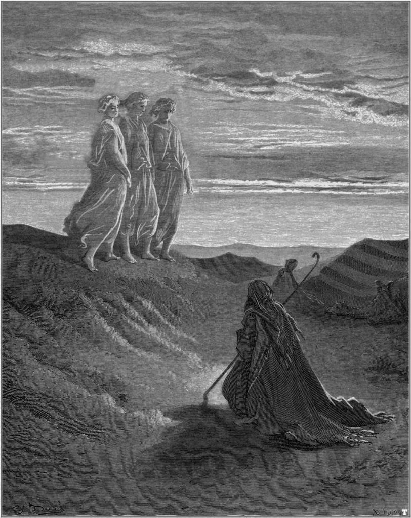 Abraham, Dios y dos ángeles, por Gustave Doré (1852)