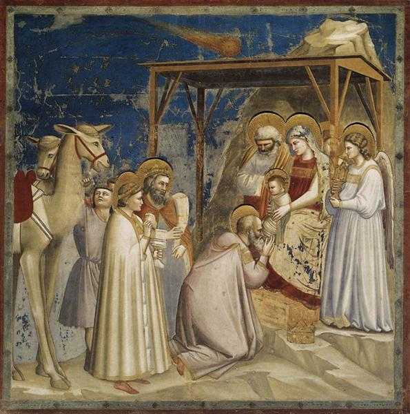 La adoración de los magos, por Giotto di Bondone.