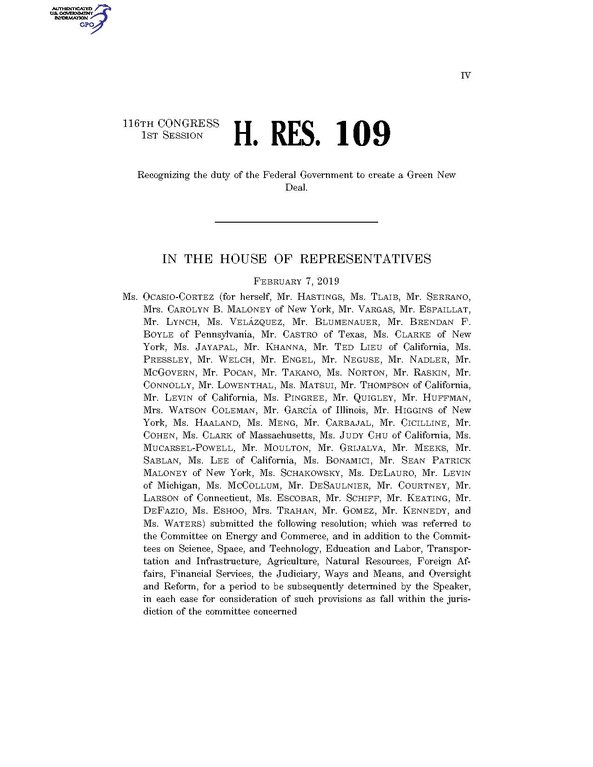H. RES. 109 (116th Congress - 1 Session)