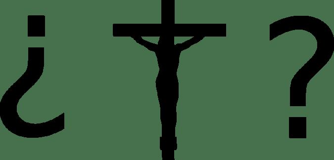 Cristo crucificado entre signos de interrogación