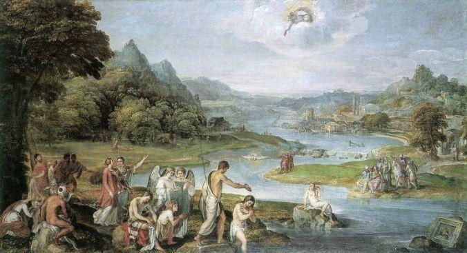 El Bautismo de Jesús por Lambert Sustris (1552)