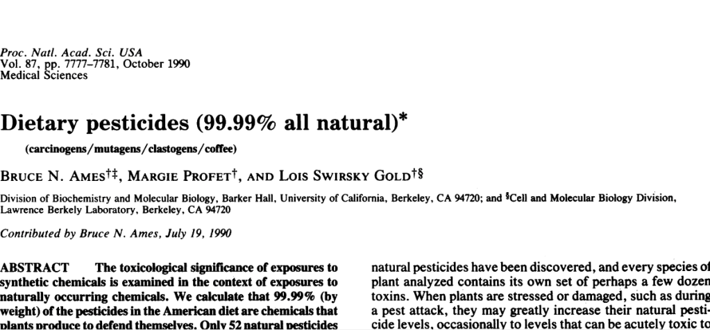 "Cabezote del artículo ""Dietary Pesticides"" (Ames, Profet & Gold)"