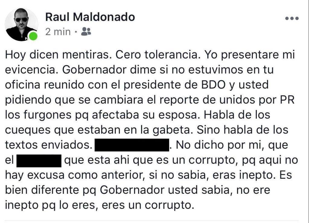 Expresiones de Raúl Maldonado, con la debida censura.