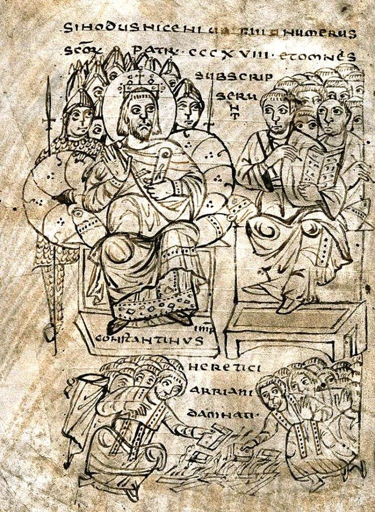 Ilustración del Concilio de Niscea y la quema de libros arrianos por Constantino (s. IX EC)