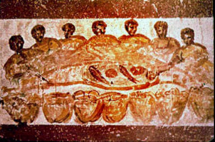 Pintura de una cena cristiana