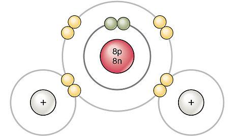 Enlaces covalentes formando molécula de agua.