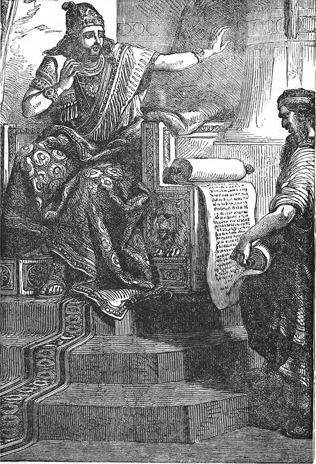 Rey Josías escuchando el libro de la Ley