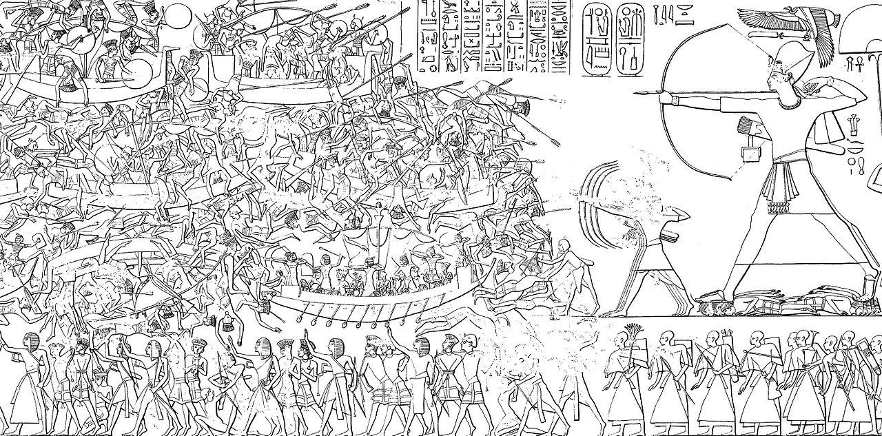 Imagen de los Pueblos del Mar y el ejército de Ramsés III
