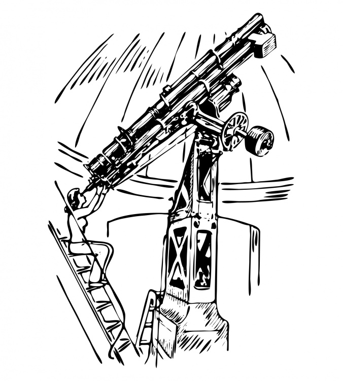 Astrónoma mirando por un telescopio