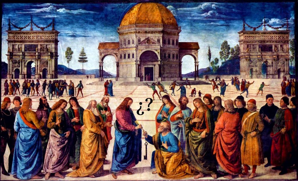 Jesús entrega las llaves del Reino por Pietro Vannucci (1482)