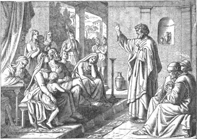 Pedro le predica a la familia de Cornelio
