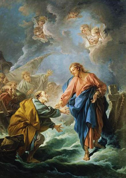 Pedro intenta caminar sobre las aguas, pintura de François Boucher (1766).