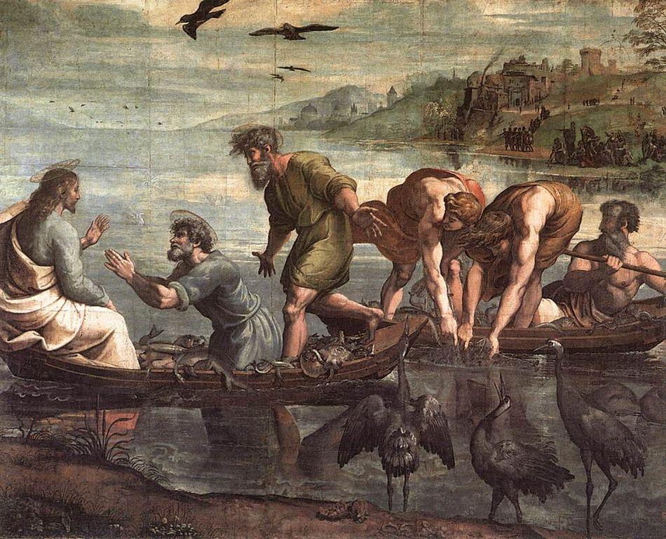 El milagro de la pesca abundante por Rafael (1515). Imagen cortesía del Museo de Victoria y Alberto en Londres.